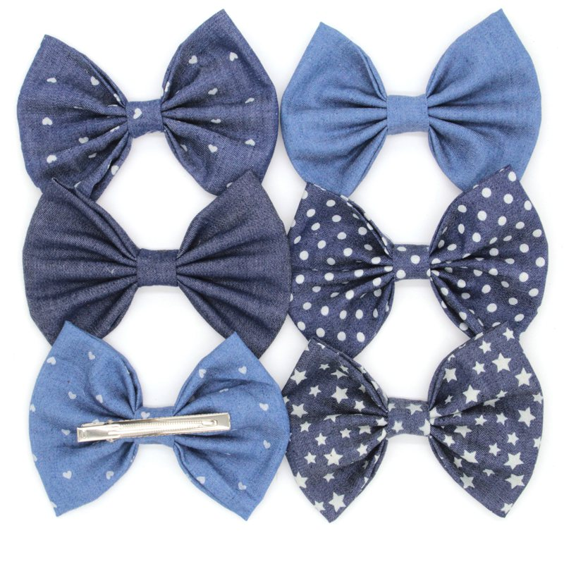 Retail 1PC 5'' Big Cute Denim Hair Bows WITH Clips,Messy Hair Bow Clips For Children Headband, Baby Hair Accessories popular in europe and america children wear hair knotted cotton big bow tie children hair baby hair headband