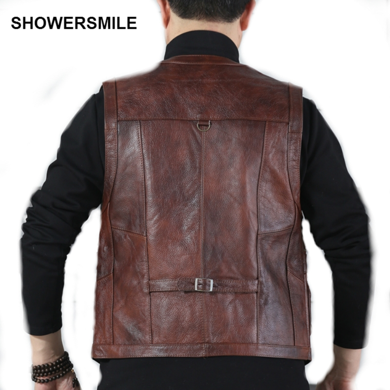 Genuine Cow Leather Vest Mens Photography Vest With Many Pockets Brown Motorcycle Jacket Male Waistcoat Jurassic Park Clothing