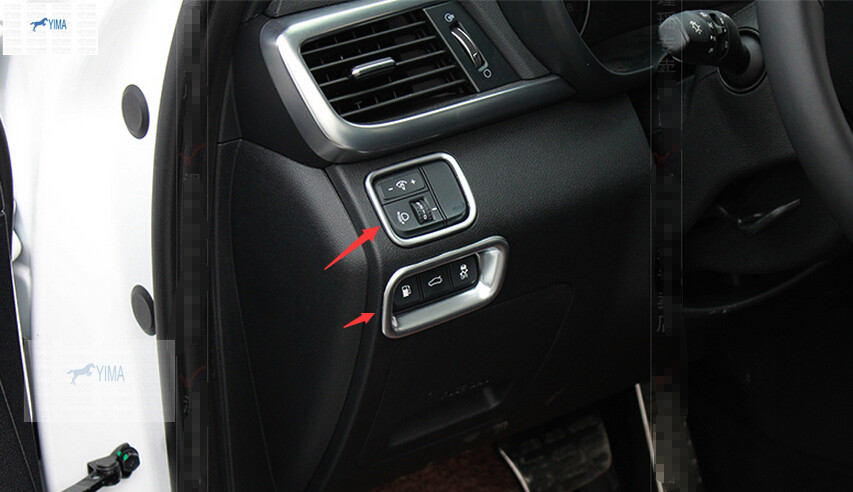 Interior Headlight Switch Button Frame Trim Cover 2pcs