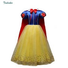 Girls Snow Queen Costumes Cosplay Kids Girl Princess Party Dresses with Cape Children Cartoon Clothes Short Sleeve Bow Dress muababy girl anna dress up clothes with cape children long sleeve floral applique snow queen cosplay costume for halloween party
