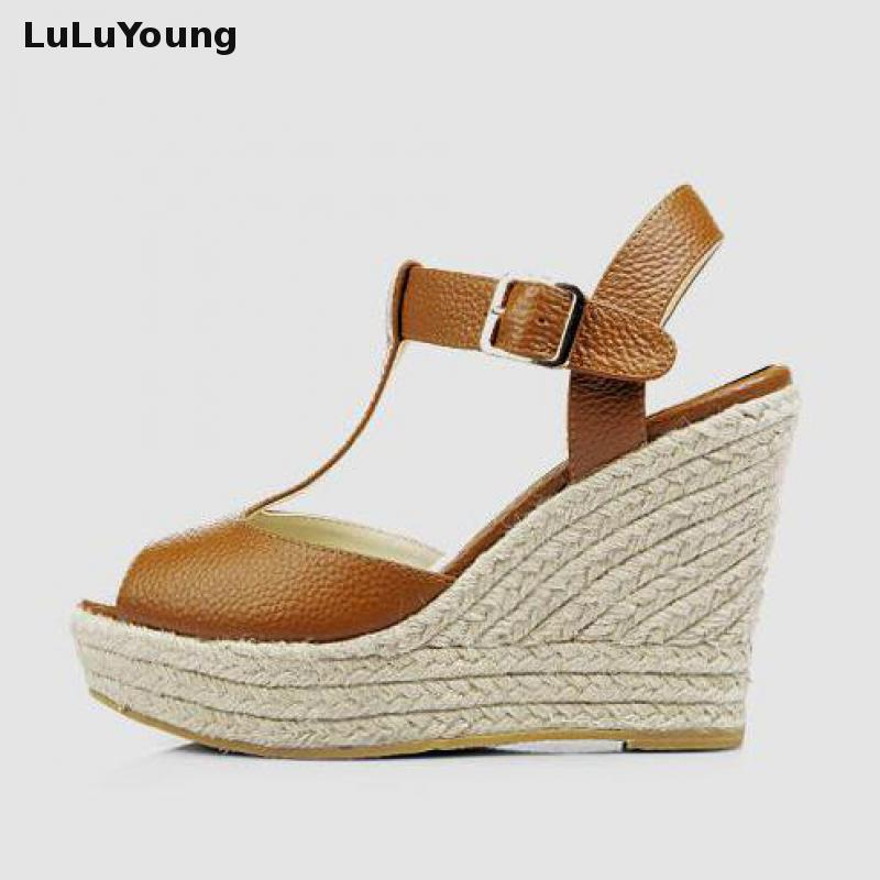2017 Summer Women Open Toe Shoes Princess T Strap Buckle Wedge High Heel Sandals Size 30 31 32 33 To 41 42 43 Sy-1224 t strap round toe women lolita wedge high heel shoes new 2017 side open japanese style wedges with buckle straps free shipping