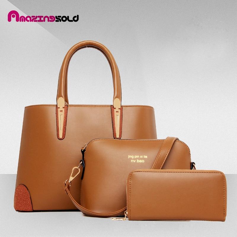 Hot women bags  PU Leather Composite Handbags Ladies Luxury Women Messenger Bags 3 sets