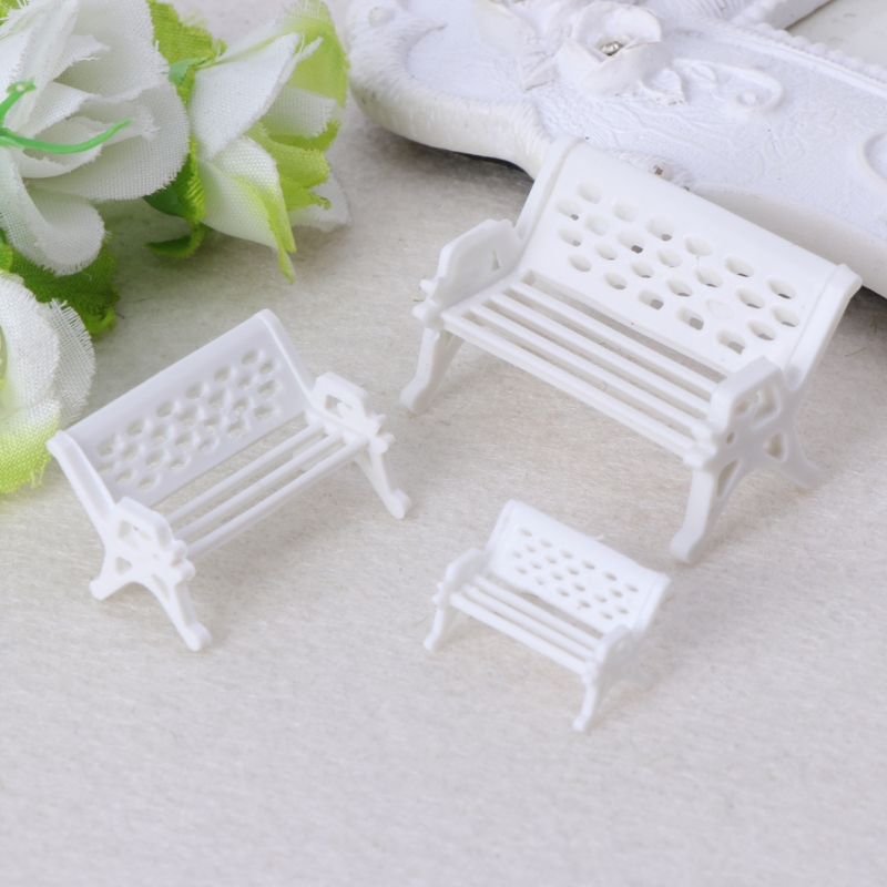 Miniature Dollhouse FAIRY GARDEN Furniture ~ Gray Resin Rabbit Bench ~ NEW