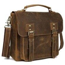 2017 Handmade Vertical 100% Genuine Leather Cross Body Bag Small Carry On Handbag Briefcase Vintage Style 1159