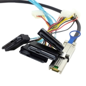 10pcs/lot 1.5m 5ft External Mini SAS 4X SFF-8088 26pin host to SAS hard disk SFF-8482 29pin target Fanout Cable with IDE Power