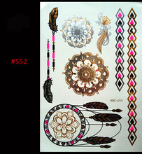 Hot Flashes Metal Waterproof Henna Tattoos Gold And Silver Women Blue Lace Flower Necklace Temporary Tattoos Sticker
