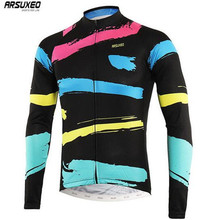 ARSUXEO Full Zipper Cycling Jersey Reflective Stripe Men Breathable Long Sleeve Bicycle Clothing Shirts MTB Clothing цена 2017