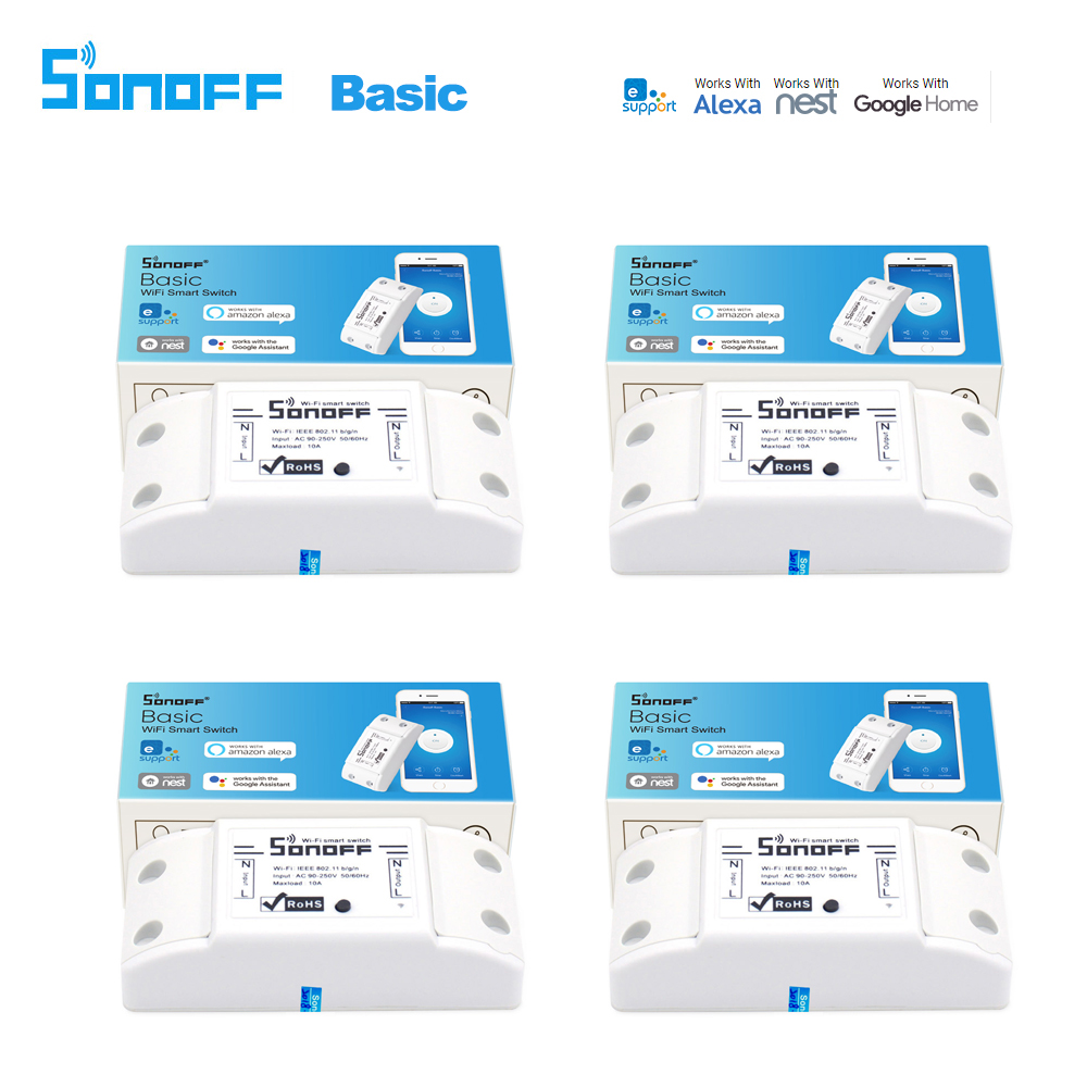 4 stücke Sonoff Smart Wifi Schalter DIY Smart Wireless Fernschalter Domotica Wifi Lichtschalter Smart Home Arbeit mit Alexa