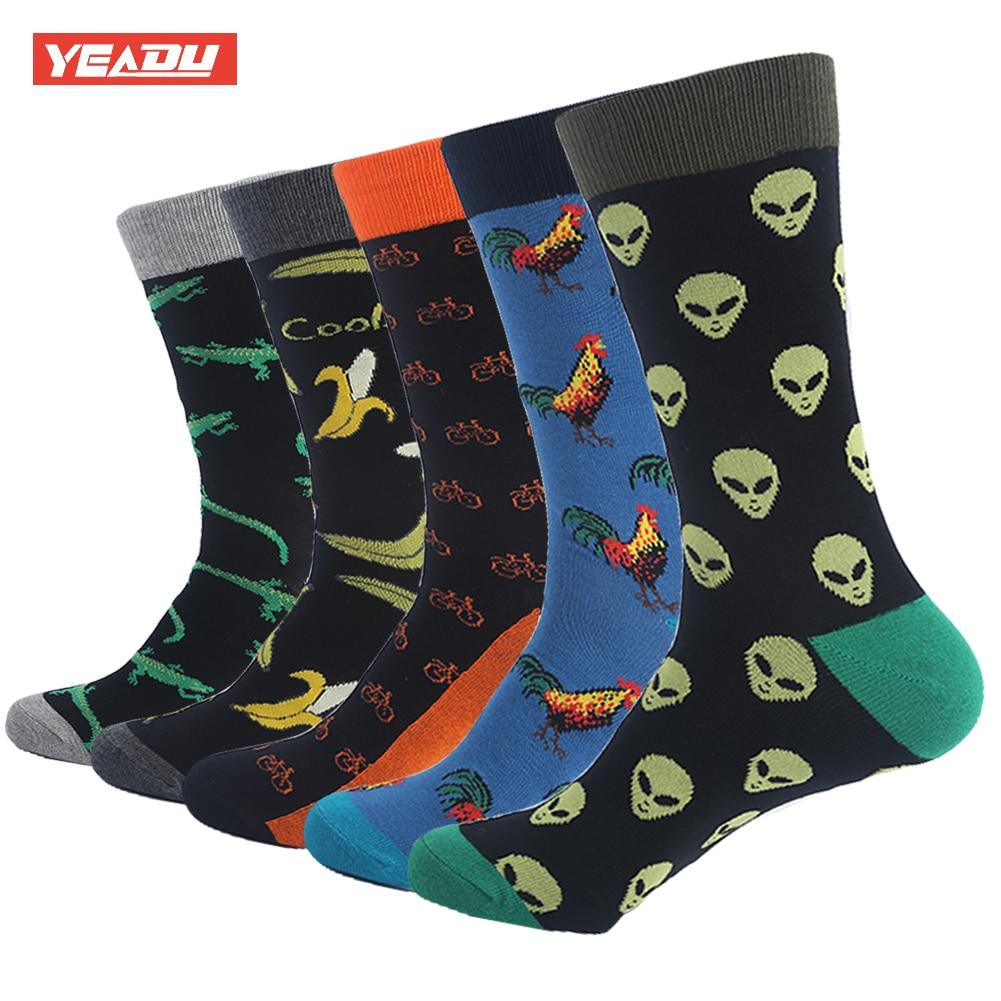Yeadu 85% Combed Cotton Mens Long Socks Black Harajuku Animal Fox Dog Hip Hop Dress Sock For Male 5 Pair/lot Men's Socks