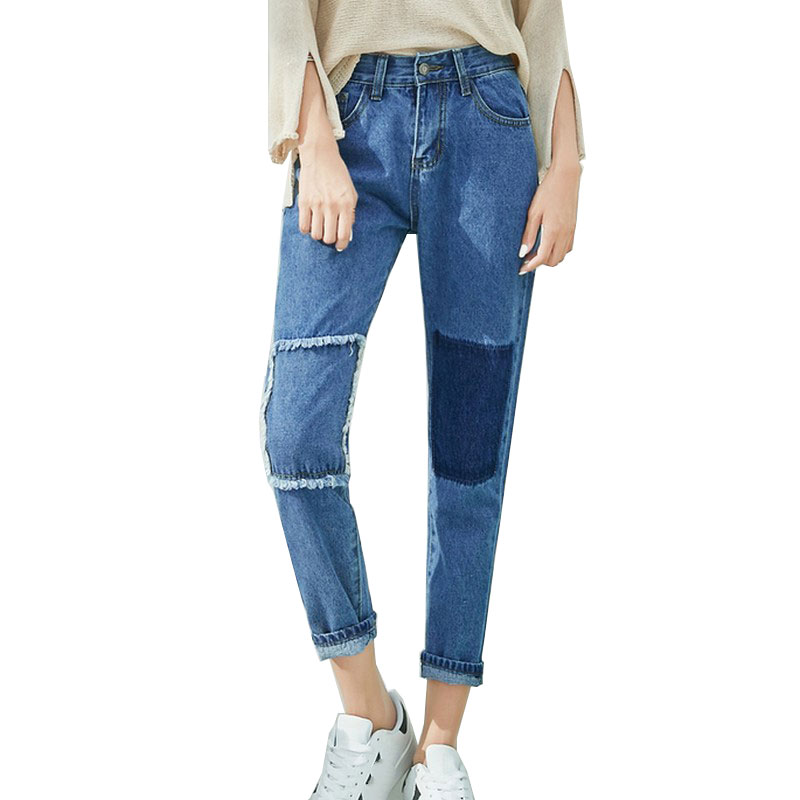 Stitching Jeans Patch Pencil Pants Ripped Jeans for Women Slim Trousers Plus Size XL Jean Feminino Solid Blue Skinny Denim Pants 2017 jeans for women new thin slim trousers pencil pants high waist small jeans plus size xl 5xl fashion vintage blue jeans