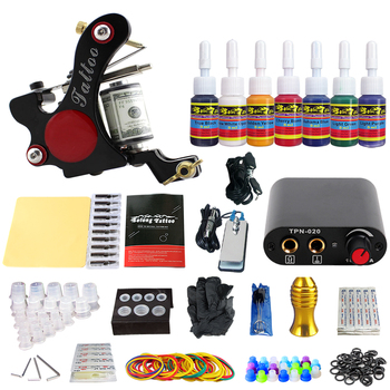 Kit de máquina para tatuaje de estigma 1 para principiante 7 tintas TK105-15 de Sol Rojo