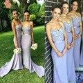 Elegant Lilac Long Bridesmaid Dresses Sweetheart Appliques Beaded Maid of Honor Dress Vestido Para Madrinha De Casamento 2016