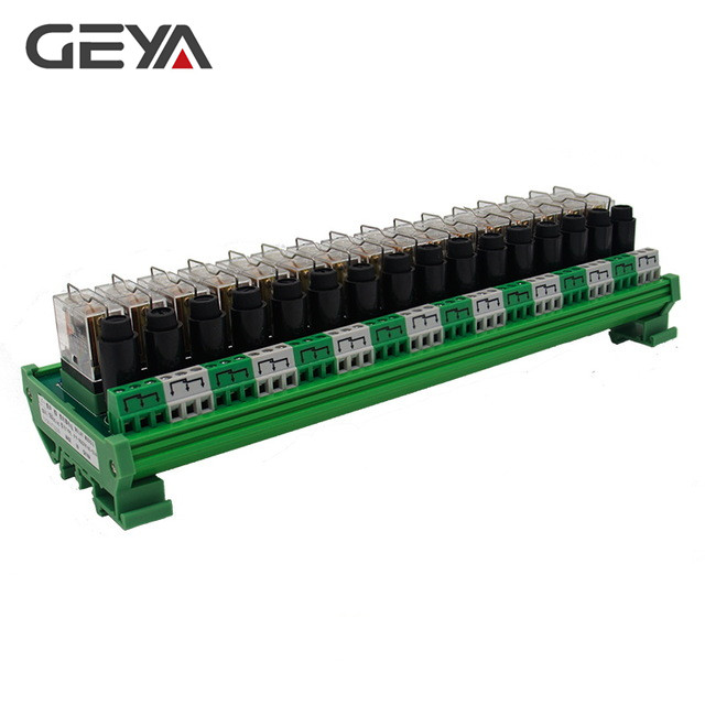 GEYA NGG2R 16 Channel Omron Relay Module with Fuse Protection Omron 12VDC 24VDC Relay PLC 1NO1NC free shipping geya ng2r 4 channel relay module 1no 1nc relay spdt module 12v 24v ac dc omron relay plc