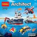 Decool 3112 arquitecto municipal 4 en 1 submarino explorador de los océanos legoe aviones bloques de construcción para niños juguetes compatibles