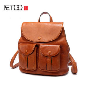 83a01b3cc5 AETOO Literature leather canvas retro British backpack