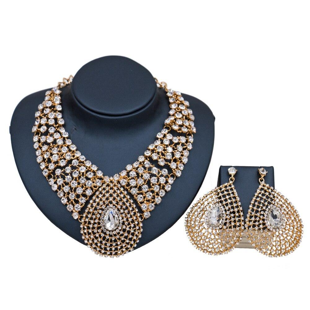 2017 nouveau modèle ensemble de bijoux femmes collier africain et boucle d'oreille ensemble Dubai grand collier de strass de mode ensemble