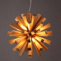 Chandelier Tree Wood Wooden Solid Bar Vintage New Vintage Chandeliers Creative Led Lamp Light