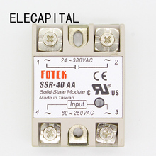 1 pcs SSR-40 AA AC-AC Metal Base Solid State Relay Moudle SSR-40AA 40A Output AC 24-380V Good Quality Wholesale Hot Sale Promot