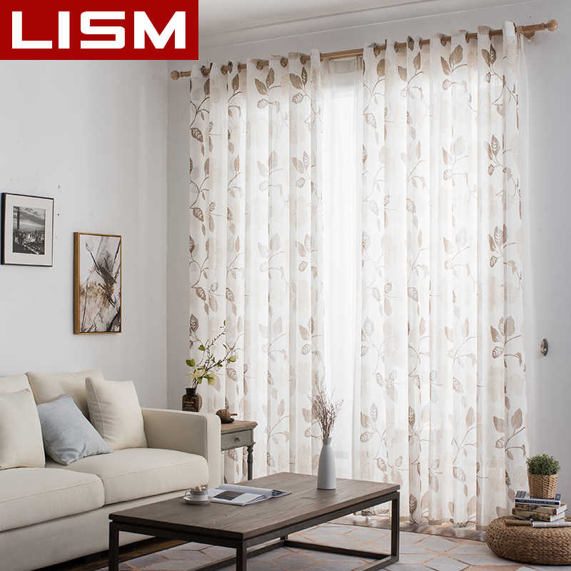 LISM Floral Linen Tulle Window Curtains for Living Room Bedroom Kitchen Modern Printed Sheer Voile Curtains Fabric Drapes Panel
