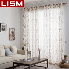 LISM Floral Linen Tulle Window Curtains for Living Room Bedroom Kitchen Modern Printed Sheer Voile Fabric Drapes Panel