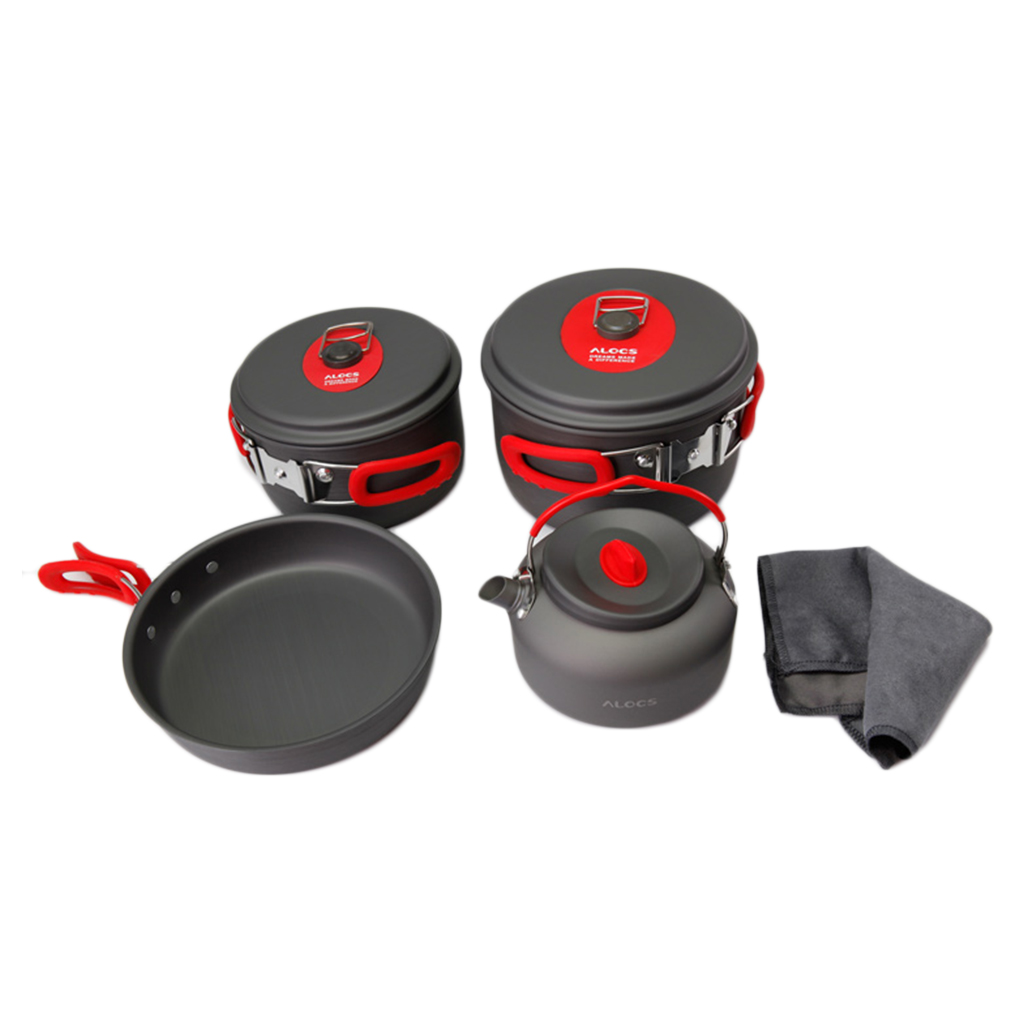 ФОТО 7set Portable Ultralight Aluminum Outdoor Camping Hiking Cookware Cooking Picnic Pan Pot Teapot Dishcloth 4 People free shipping
