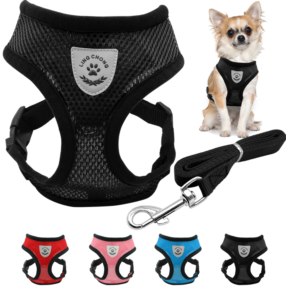breathable mesh small dog pet harness and leash set puppy vest pink red blue black for chihuahua. Black Bedroom Furniture Sets. Home Design Ideas