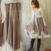 2วิธีสวมใส่ฮาราจูกุโมริสาวถังชุดผู้หญิงอสมมาตรUnderdressผ้าฝ้ายเย็บปะติดปะต่อกันลูกไม้สบายๆน...