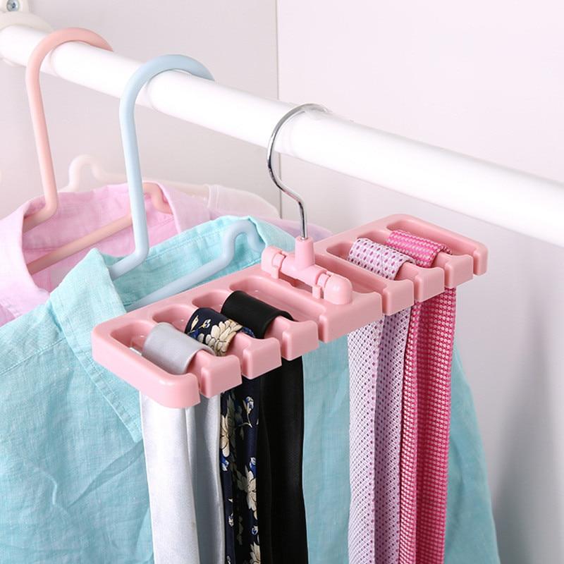 1pcs Tie Belt Home Storage Rack Space Saver Rotating Scarf Ties Hanger Holder Hook Closet Organization Tank Tops Belts Bag