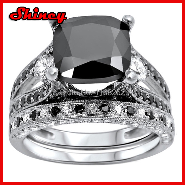 High quality cushion cut big black stone mens wedding ringblack