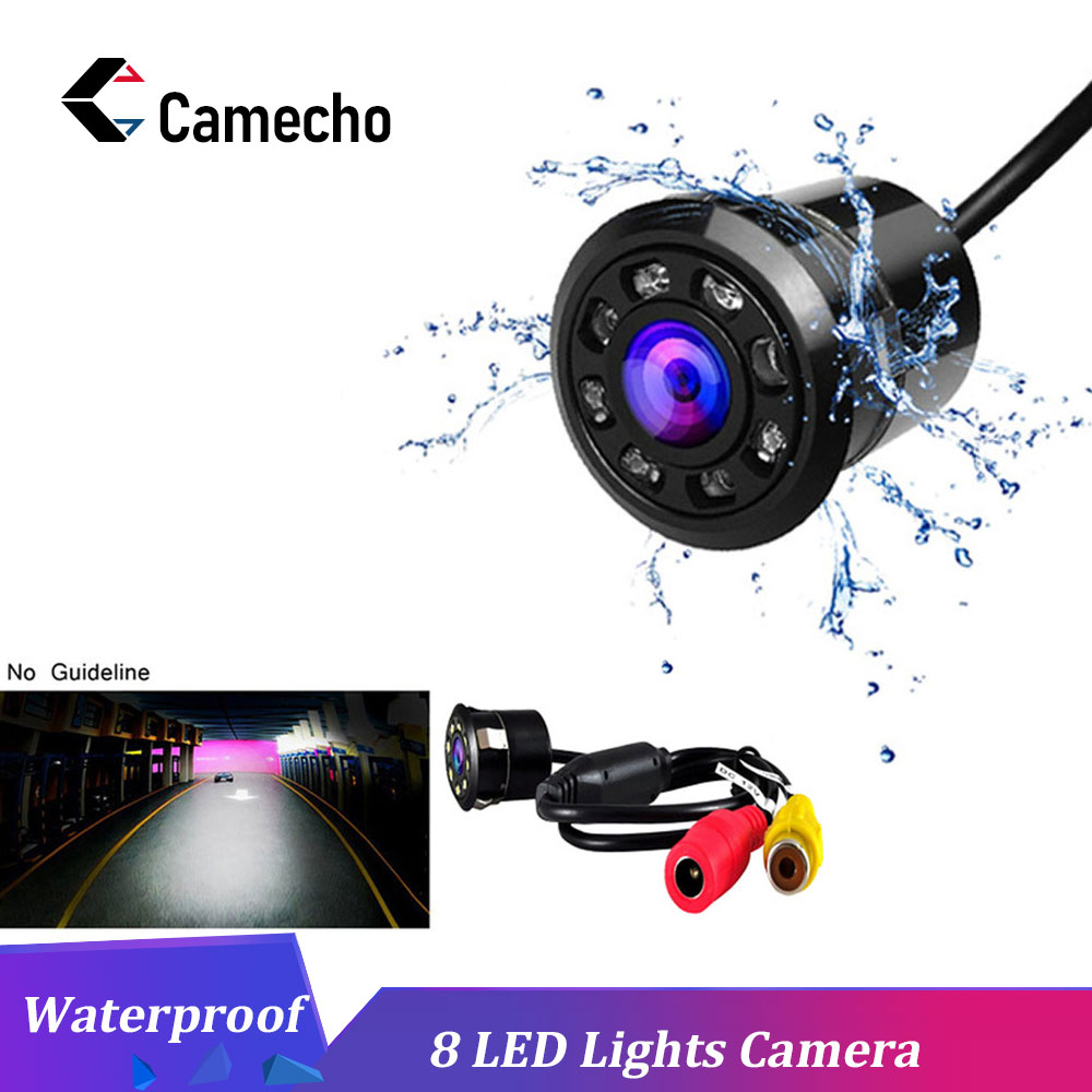Camecho Car Rear View Camera 8 LED Night Vision Reversing Auto Parking Monitor CCD Waterproof 170 Degree HD Video