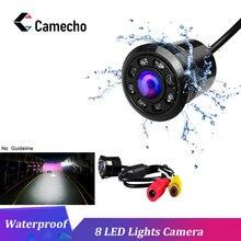 Camecho Автомобильная камера заднего вида 8 светодиодный Ночное Видение заднего вида авто парковка монитор CCD Водонепроницаемый 170 градусов HD видео