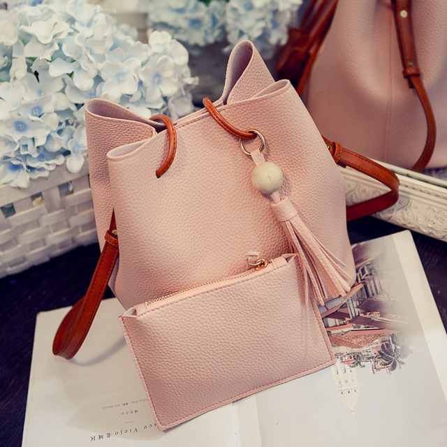 PU Leather Shoulder Sling Bags for Women Drawstring Handbags Composite Ladies Small Crossbody Bucket Bags