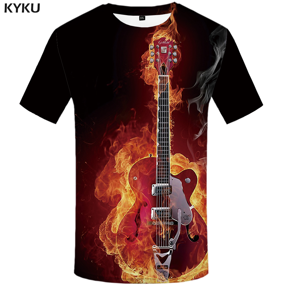 KYKU Flame   T  -  shirt   Men Music   T  -  shirts   3d Guitar Tshirts Casual Metal   Shirt   Print Gothic Anime Clothes Short Sleeve   t     shirts
