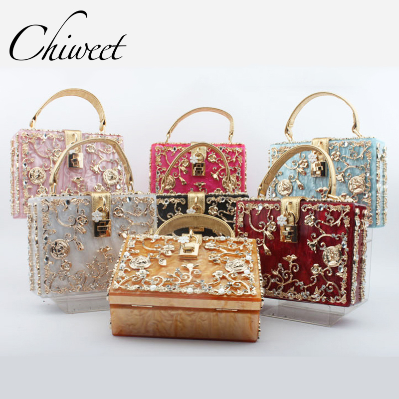 Luxury Handbag Evening Bag Diamond Flower Hollow Clutch Designer Bag Box Relief Acrylic Banquet Party Purse Women Shoulder Bags