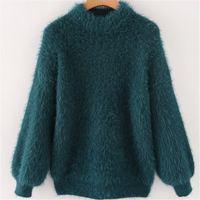 LXUNYI Autumn Winter New Thick Knitted Sweater 2018 Korean Loose Mohair Sweater Women Sweet Lantern Sleeve