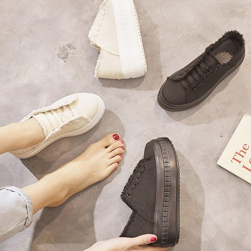 Mode Sneakers Plate forme Chaussures Noir Beige Marque Jookrrix Casual Chaussure Femelle noir Respirant Toile Lady Beige Femmes Automne JTlFKu13c