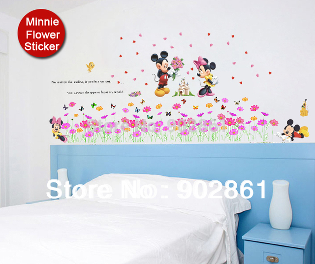 Minnie Mouse Wall Mural Love Couple Love Couple Wallpaper Flower Butterfly Art  Mural Wall Sticker Decals Part 83