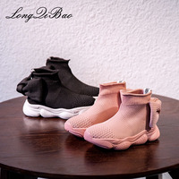 Children's shoes 2019 spring new Korean girls fashion bows breathable flying woven socks shoes children's sports shoes