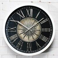 OUYUNContinental Retro Stereo Metal Rivets Rome Digital Art Clock Watch The Sun God Hanging Wall Clock