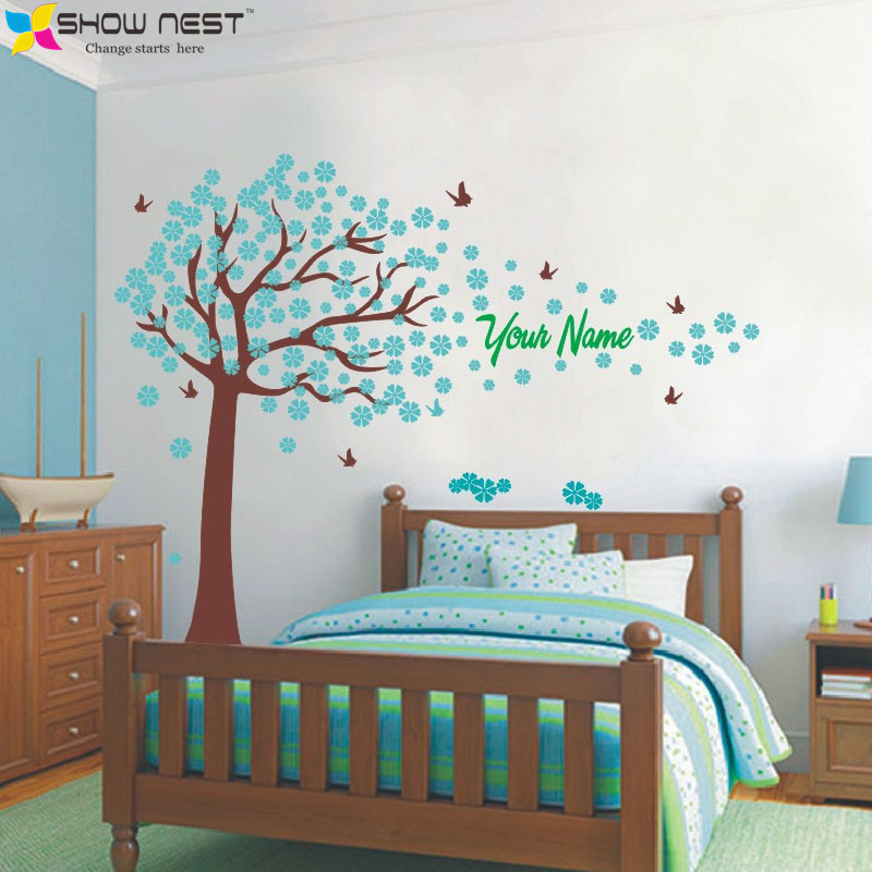 Tree and Butterflies Decals Custome Girl Or Boy Name Wall Stickers Home  Decor Baby Bedroom Wall Decoration Indoor Wall Art Mural