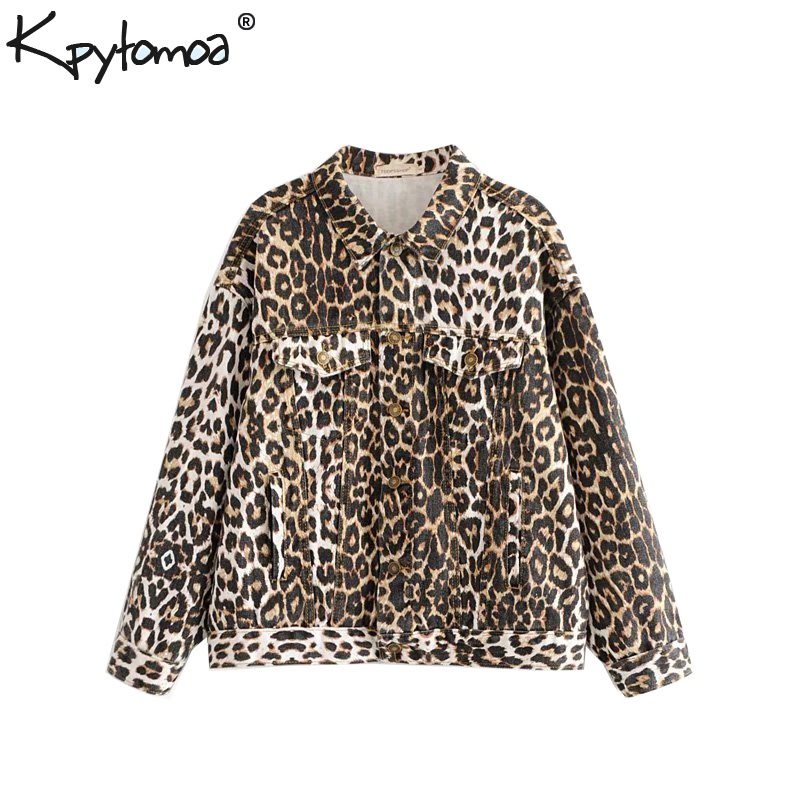 Vintage Stylish Leopard Print Denim Jacket Coat Women 2018 Fashion Lapel Collar Long Sleeve Loose Outerwear Casual Casaco Femme