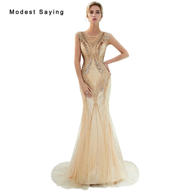 Luxury Illusion Champagne Evening Dresses 2019 with Crystal Beaded Mermaid  Party Prom Gowns Sparkly Engagement Dresses Handmade 4247450375e7