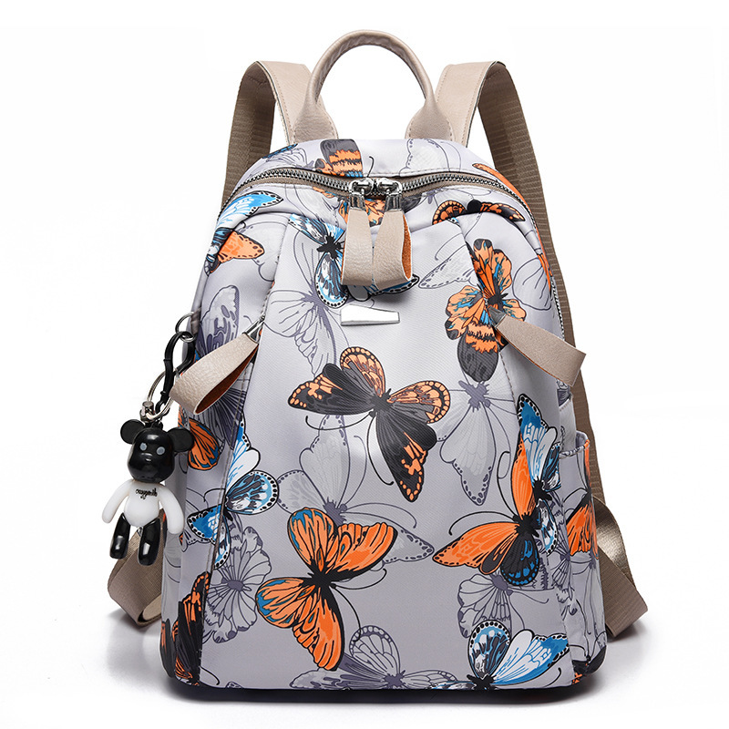 Backpack Female Schoolbag Oxford Anti-Thief Feather-Print Travel Large-Capacity Waterproof