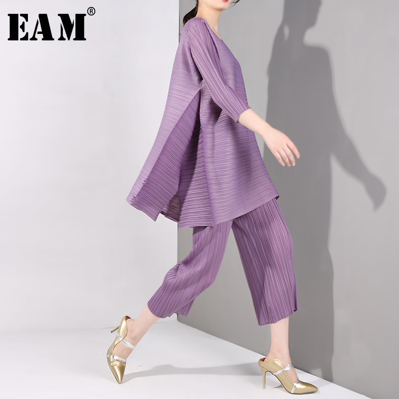 [EAM] 2019 New Autumn Winter Round Neck Three-quarter Sleeve Pleated  Loose Wide Leg Pants Two Piece Suit Women Fashion OA9