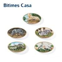 Bitimes 5PCS/Lot Wild Animal 3D Fridge Magnets South Africa Leopard Beast Travel Souvenirs Magnetic Refrigerator Sticker