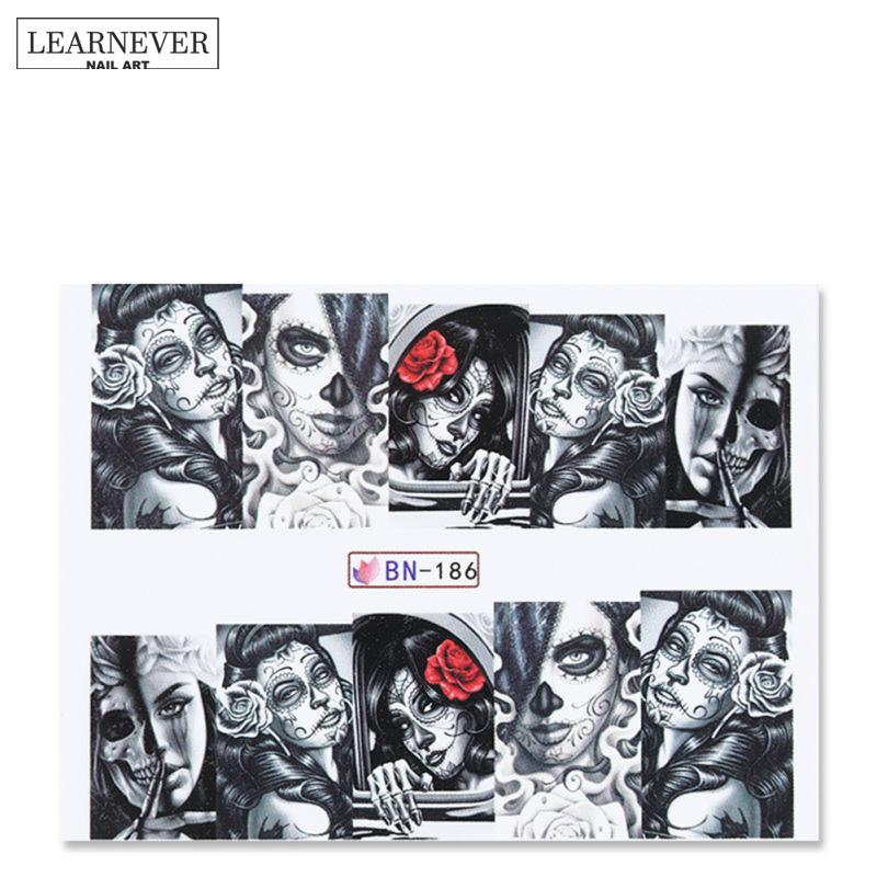 LEARNEVER Nail Art Stickers Water Decals Transfer Stickers H