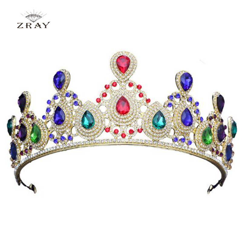 ZRAY Green Red Blue Crystal Tiaras Vintage Gold Rhinestone Pageant Crowns Baroque Wedding Hair Dress Jewelry Accessories