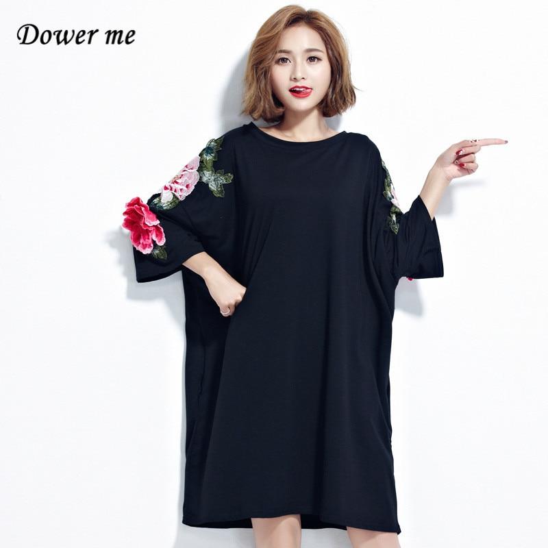 Для женщин; Большие размеры Платье черного цвета Vestidos женские элегантные Вышивка платья Свободные Тонкий Женская одежда mb018