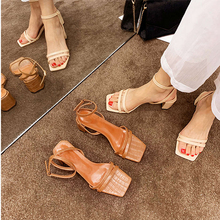 2019 Women Summer Sandals Slippers Rome High Heel Shoes Open Toe Square Party Shoes Strap Rope Ankle Strap Classics Sandals цены онлайн