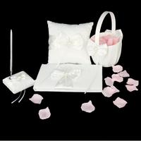 Ivory Pearl Bowknot Wedding Party Guest Book and Pen Ring Pillow Flower Basket Set